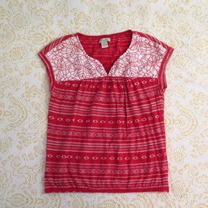 Lucky Brand Red and White Embroidered Top Tribal